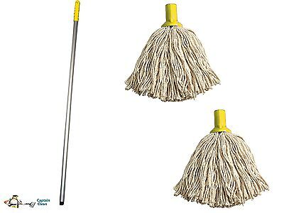 Professional Colour Coded Mop Handle and 2 Mop Heads - Colour Yellow