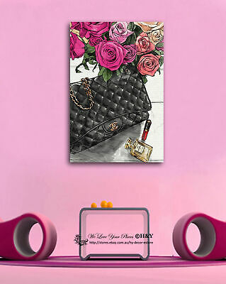 Bag Flower Fashion Stretched Canvas Prints Framed Wall Art Home Decor Painting