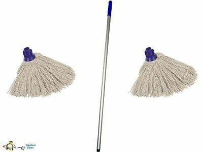 Professional Colour Coded Mop Handle and 2 Mop Heads - Colour BLUE