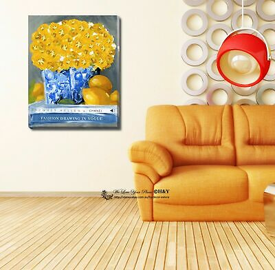 Golden Flower Fashion Stretched Canvas Print Framed Wall Art Home Decor Painting