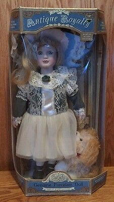 Antique Royalty Porcelain Doll With Dog Puppy Old-Fashioned has Stand
