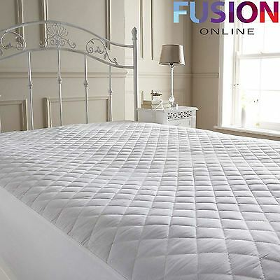 Luxury Quilted Polycotton Mattress Protector Cover Bed Cover Deep All Bed Sizes