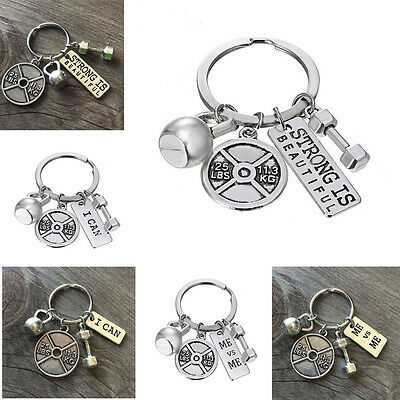 Dumbbell Weightlifting Charms Fitness Crossfit Kettlebell Keyring Gifts Keychain