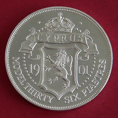 Cyprus 1901 Edward Vii Silver Proof Pattern Model 36 Piastres