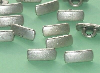 Lot 21 RECTANGLE Vintage Antiqued SILVER Metal new set small Buttons