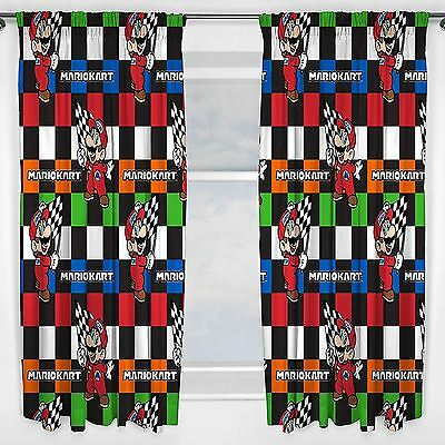 "NINTENDO MARIO KART CHAMPS READYMADE CURTAINS 66"" x 72"" KIDS CHILDRENS BEDROOM"
