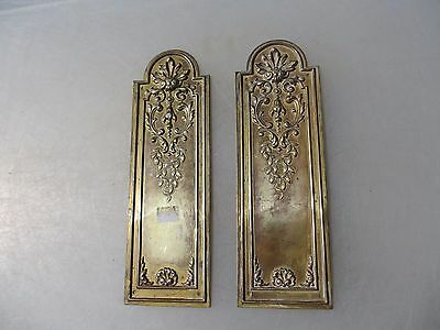 Antique Brass Finger Plates Push Door Handles French Gilt Shell Rococo Vintage