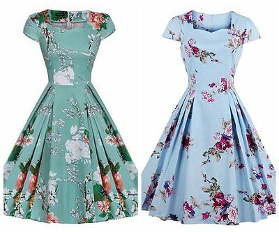 Women's Cap Sleeve Vintage 1950's Style Rockabilly Casual Party Prom Swing Dress