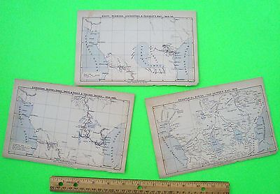 3 Orig'l 1878 MAPS OF AFRICA EXPLORATIONS, STANLEY & LIVINGSTONE 1676 - 1863 wow