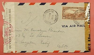 1944 Haiti Single Franked Airmail Cover To Usa Wwii Censored