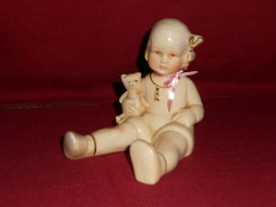 VINTAGE CHALKWARE FIGURINE ~ GIRL with TEDDY BEAR!      BUY IT NOW!    A+ COND!