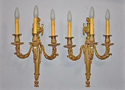 Pair French Three Socket Bronze Wall Sconces Ribbon, Flame Details