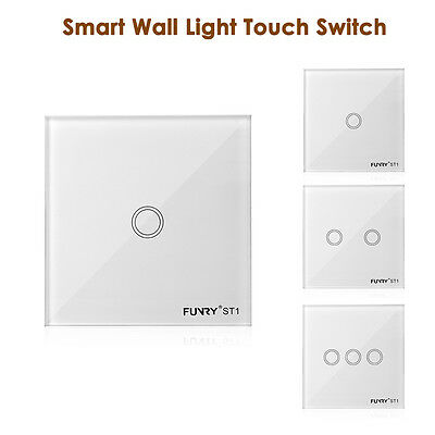 FUNRY New Smart Touch Wall Light Intelligent Switch Crystal Glass 1/2/3 Gang Way