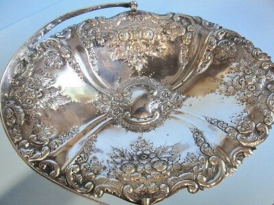 Antique Victorian Silverplate Repousse Fruit/Brides Basket