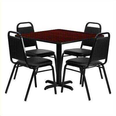 Flash Furniture 5 Piece Laminate Table Set in Mahogany and Black