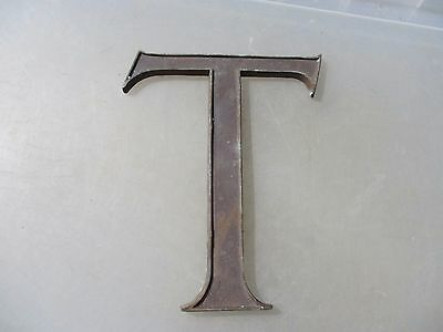 "Antique Bronze Shop Letter ""T"" Sign Old Architectural Vintage Name Cast    8""H"