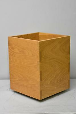 Mid Century Modern Oak Dovetailed Planter On Wheels