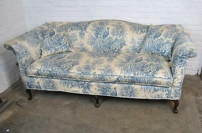 Camel Back Chippendale Style Blue And White Sofa