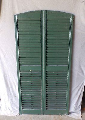 Pair Vtg Semi Arch Top House Window Wood Louvered Shutters Shabby 18x70 112-17P