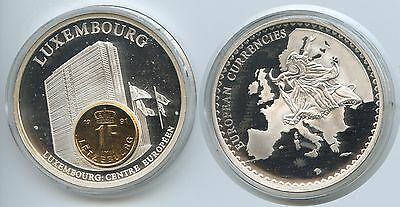 GY427 - Große Medaille Luxembourg mit 1 Franc 1991 European Currencies