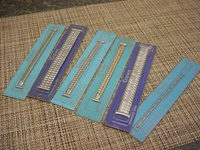 """Lot of 6 """"Crown""""  Delicate 1/20 10k White Gold-Filled Art-Deco WatchBands  W1942"""