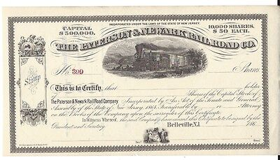 The Paterson & Newark Railroad Co........1860's Unissued Stock Certificate