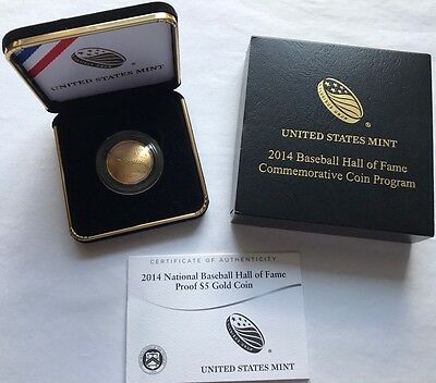 2014 W US Mint National Baseball Hall of Fame Proof $5 Gold Coin