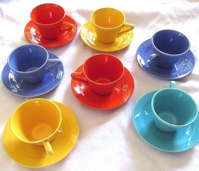 VTG HOMER LAUGHLIN HARLEQUIN  FIESTA Lot of 7 Cups and Saucers - Mixed Colors