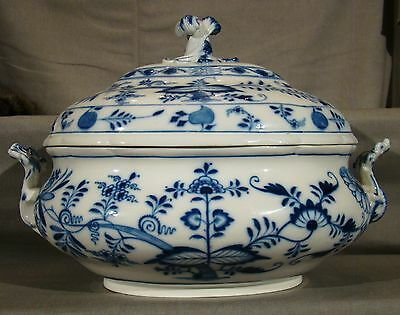 Rare Antique Meissen 1st Choice Onion Pattern Lg Soup Tureen 1814-1860
