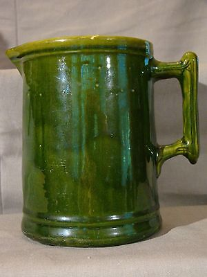Fine Antique Green Glazed Yellow Ware Pitcher mid 19th c