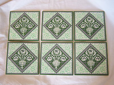 6 VICTORIAN TRANSFERWARE TILES MADE IN ENGLAND Green Thistle Vase Urn Floral 6""
