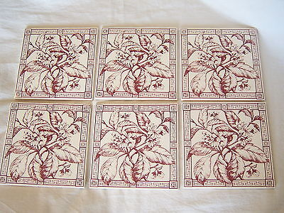 6 VICTORIAN TRANSFERWARE TILES MADE IN ENGLAND Burgundy Apple Blossom Floral 6""