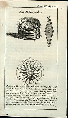Compass rose navigation science astronomy 1739 old antique engraved print