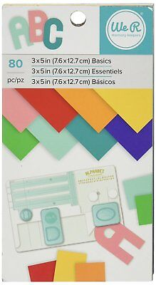 """American Crafts We R Memory Keepers Cardstock Pad 80 Sheets, 3 x 5"""", Multicolor"""