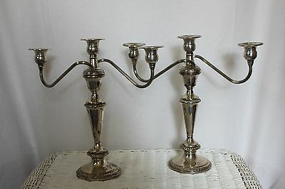 Pair of Antique 2-Section Sterling Silver Twisted Candelabra Candle Holder .925