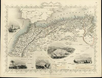North Africa Morocco Tunis Constantine Mogador etc c.1850 old antique Tallis map