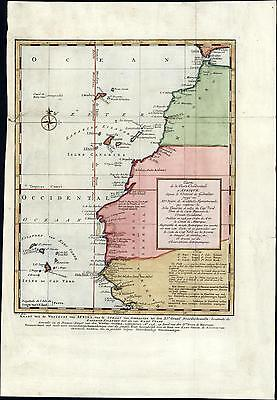 North West Africa Cape Verde Islands Gibraltar 1747 old antique color map