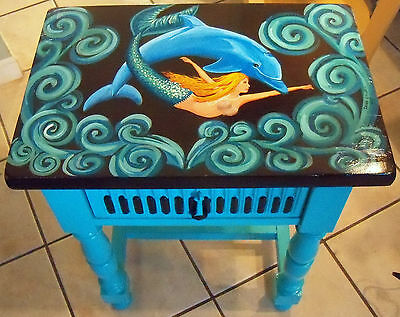 Incroyable Artist Hand Painted Table Furniture Dolphin Mermaid Whimsical Art Turquoise  NEW