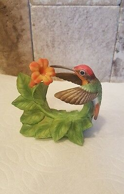 Ruby Topaz Hummingbird Figurine With Trumpet Creeper ~ Bronson Collection 1996