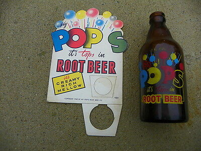 Pops Root Beer Bottle Topper Display With Botle