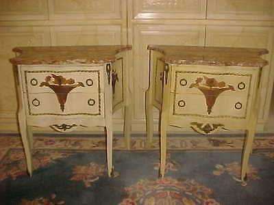 Pair Of Louis Xv Style Wood Inlaid Vase Commodes With Marble Early 20Th Cenutry