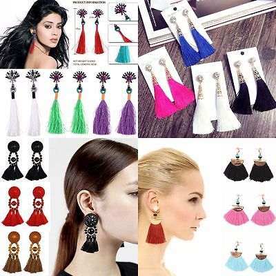 Fashion Boho Dangle Ear Earrings Women Long Tassel Fringe Party Jewelry Gift New