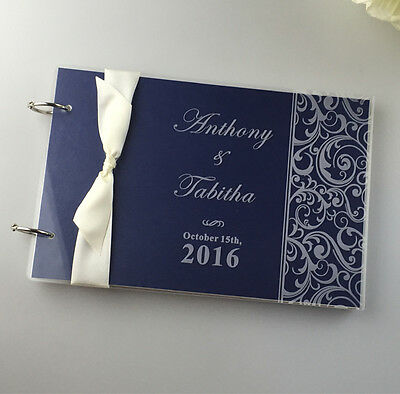 Personalized Engraved Acrylic Damask Wedding guest book album,Valentine gifts