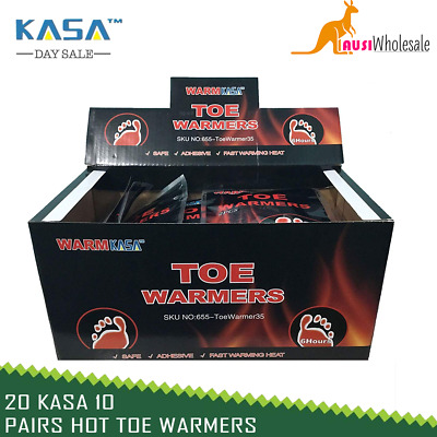 20 KASA 10 Pairs Hot Toe Warmers Pack Heat Feet Foot Sole Warmer Ski Snow