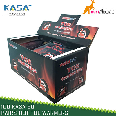 100 KASA 50 Pairs Hot Toe Warmers Pack Heat Feet Foot Sole Warmer Ski Snow