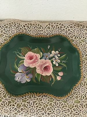 Vintage Small Hand-painted Green Floral  Tole Tray