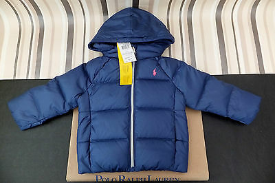 RALPH LAUREN Baby Girls Navy Quilted Down Jacket BNWT 24 Months RRP £115.99