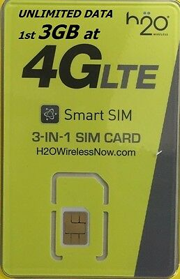 H2O Wireless SIM CARD + $30 1st MONTH FREE NANO/Micro/Standard PREPAID PRELOADED