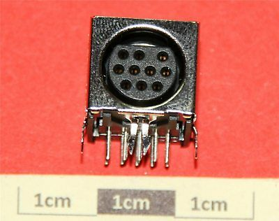 10P R/A mini DIN PCB Mounting Socket