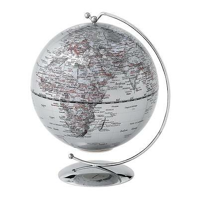 Silver Light LED Stand Swivel Earth Globe World Map Atlas Office Desk Rotating